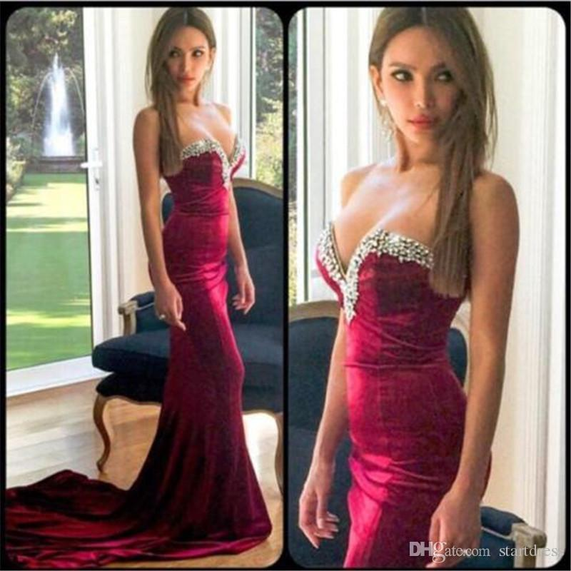 Unique Mermaid Prom Dresses Beaded Neck Sweetheart Fishtail Long Trains Formal Party Evening Gowns Summer holiday Velvet Dress For Weddings