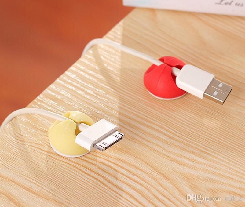 Attractive Cable Clip Desk Tidy Wire Drop Lead USB Charger Cord Holder Organizer Holder Line Accessories cable winder