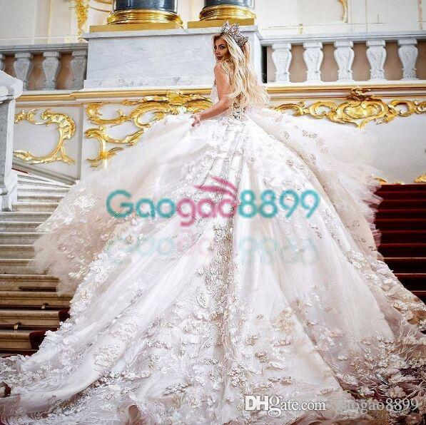 3D Floral Applique Cathedral Train Princess Wedding Dresses 2019 Olga Malyarova Sweetheart Dubai Arabic Sparkly Wedding Gowns