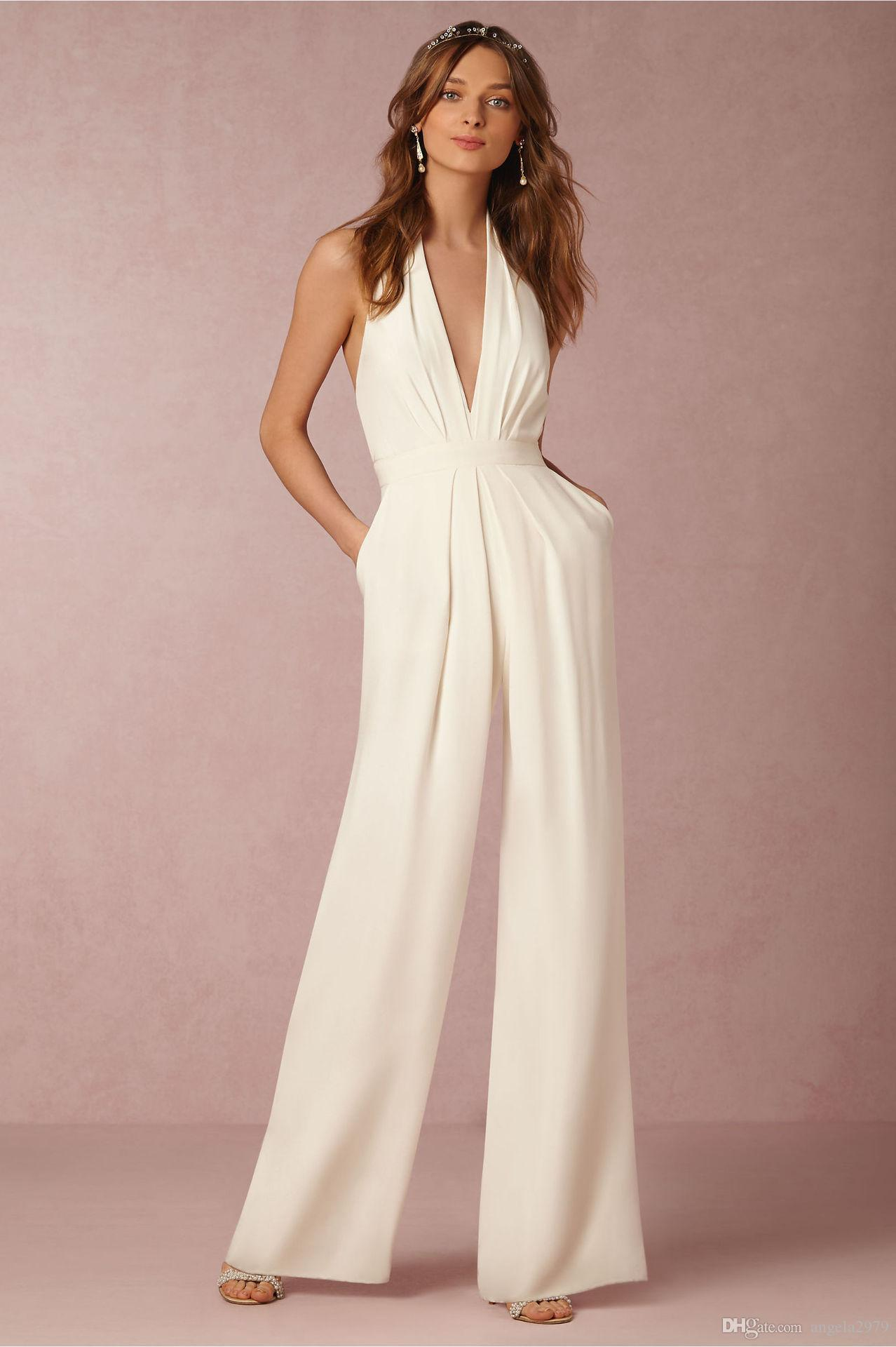 9ad58c014cbf 2019 ! Sexy Women Jumpsuits Halter V Neck Backless Women Pants Long  Jumpsuits Rompers Summer Playsuit Plus Size Wide Leg Jumpsuit B207 From  Angela2979