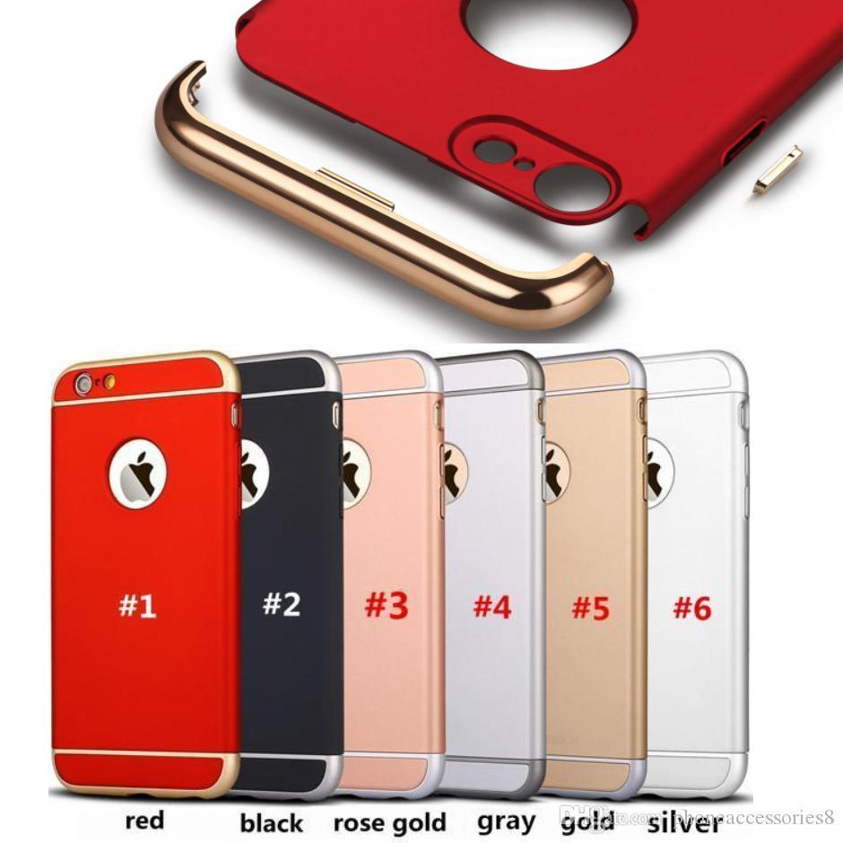 83ba8417827 Carcasas Personalizadas Para IPhone 7 Iphone 6 6s 6 Plus 5 5s SE Estuche A  Prueba De Golpes 3 EN 1 Electroplating Extraíble Phone Cases PC Cubierta  Completa ...
