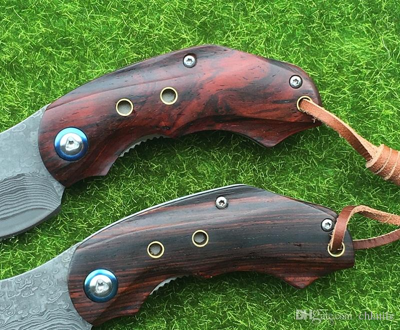 SHOOTEY VG10 Damascus steel knife slices of sandalwood + stainless steel processing folding camping knife EDC tool
