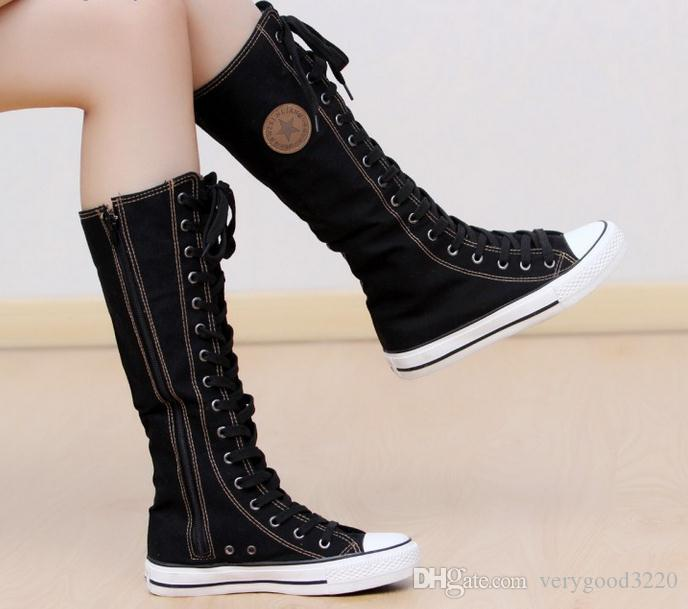 Wholesale-2017 hot sale fashion women Canvas Boots Knee High Sneakers lady motorcycle boots,size 35-43 White/Black/red