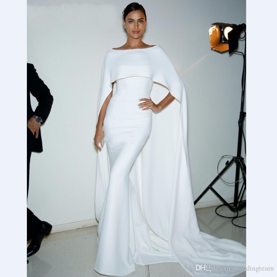 Elegant White With Cape Mermaid Evening Dresses Sweetheart Satin Trumpet Celebrity Gown Custom Made Red Carpet Dress