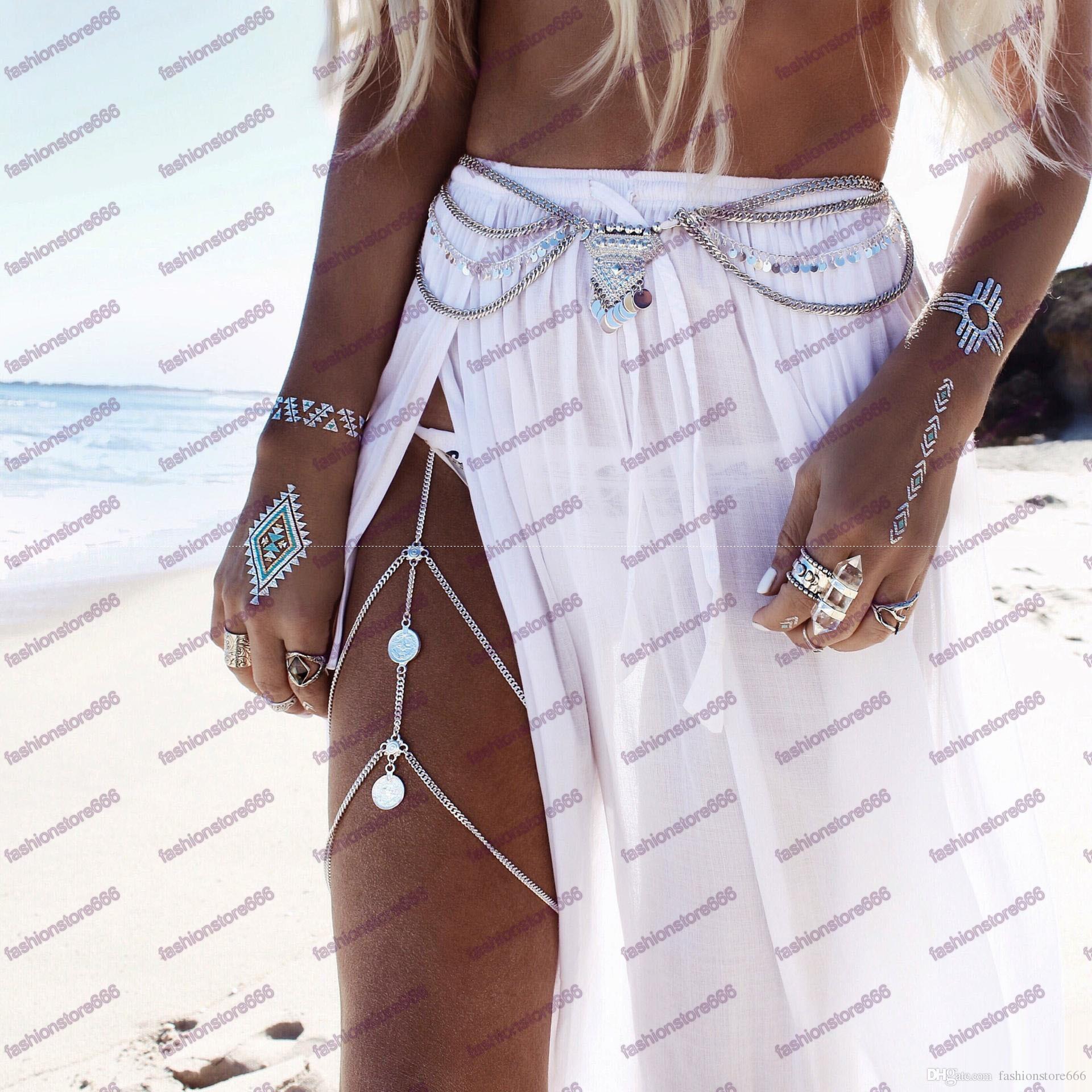 2017 Boho Hamsa El Para Uyluk Zincirler Yaz Seksi gümüş ve Altın Renk Vücut Göbek Bacak Demeti Zincirleri Kadınlar vücut Takı