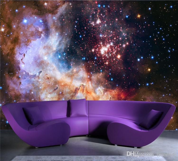 3D Gorgeous Galaxy photo wallpaper Personalizzato Silk Wallpaper Starry Night Murale Art Painting Hoom decoro Kid Bedroom Living room Decoration