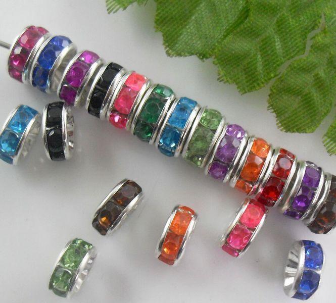 الجملة - 8MM على شكل عجلة ، كريستال Rondelle مختلطة ، الخرز فاصل حجر الراين ، والفضة مطلي جوهرة Findings-
