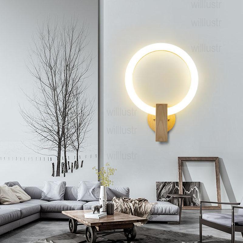 2019 Moon Round LED Wall Sconce PMMA Acrylic Ring Lamp Wood Base ...