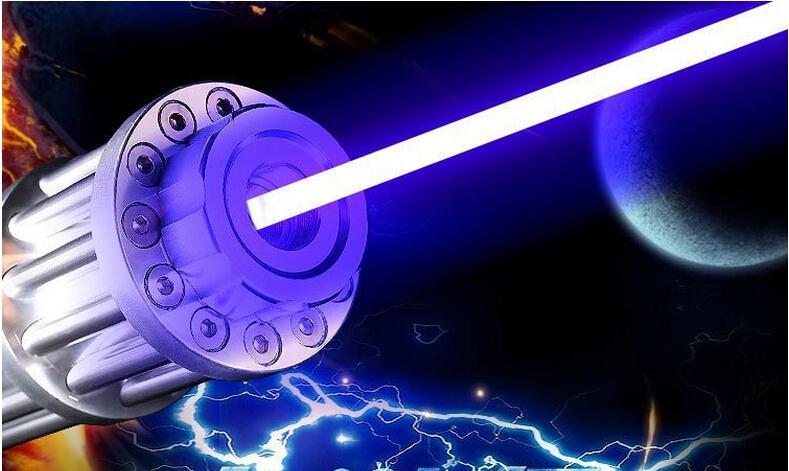 Super puissant militaire 500000m 450nm Mw bleu pointeur laser visée laser lumière LED lampe de poche Lazer torche de chasse