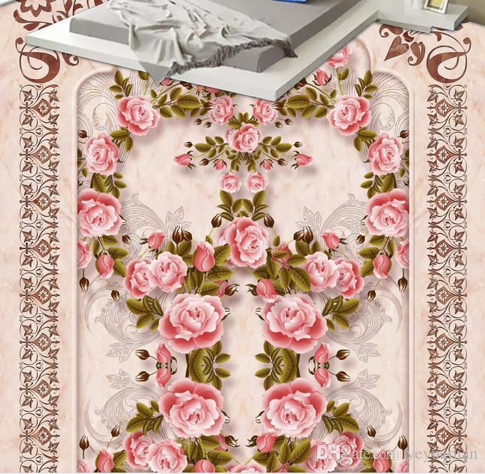 imprägniern 3d Boden des Umweltschutzes fertigen papel de parede europäischen Luxusmarmorrosefoto 3d Fußboden-Wandtapete besonders an