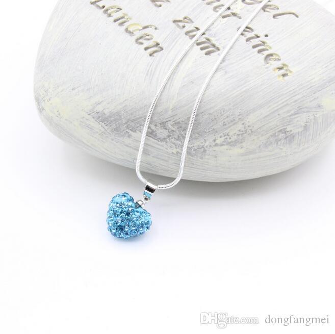 İyi A + + Popüler tam elmas matkap seramik kil şeftali kalp kolye zincir zinciri WFN379 zincir ile mix sipariş 20 adet çok