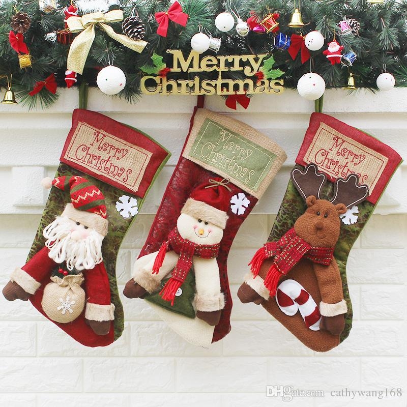 2017 high quality large christmas stocking cartoon christmas decorations santa claus snowman moose beer chirdren christmas gift bag174836 christmas - Large Christmas Stockings