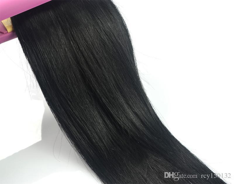 Cabelo virgem brasileiro Em linha reta u extensão do cabelo ponta # 1 Jet Black 100g 100s queratina vara ponta cabelo humano