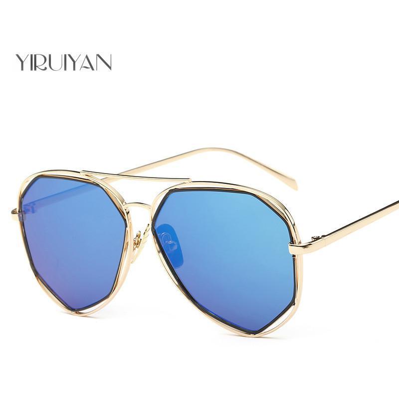 b569d19536 Compre 5 Piezas Al Por Mayor Star Style Metal Frame Gafas De Sol Mujer  Geometría Doble Puente Personalidad Brand Design Gafas De Sol Para Hombres  A $62.17 ...