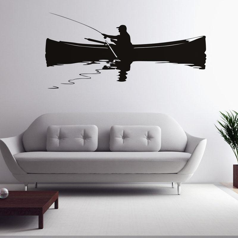 Retro Home Decor Wall Mural A Man Fishing On The Boat Wall Sticker