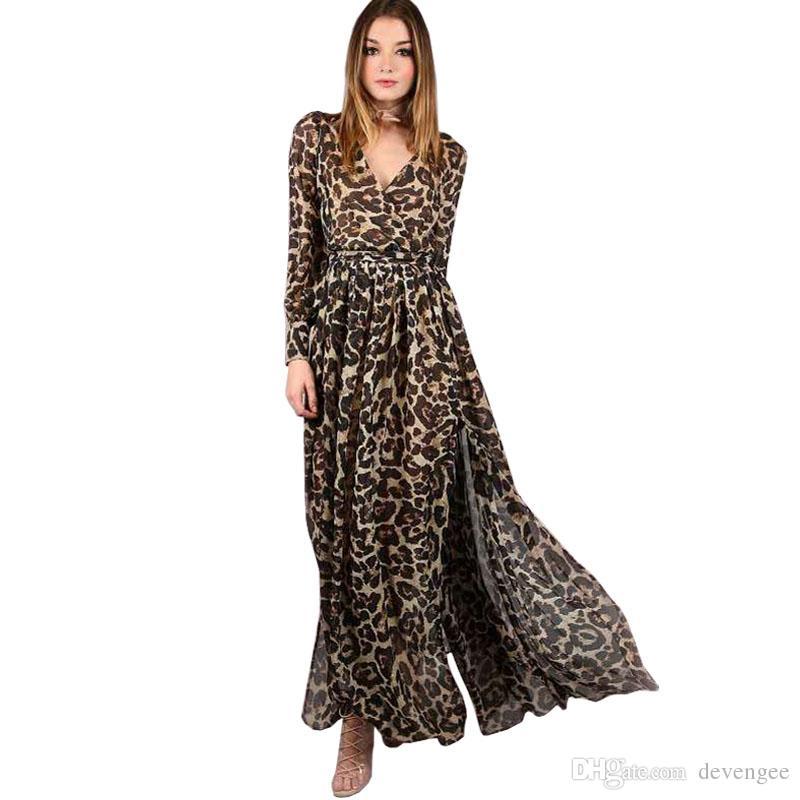 Acquista Moda Autunno Chiffon Abito Lungo Abbigliamento Donna Sexy V  Profonda Manica Lunga Stampa Leopardata Streetwear Maxi Abito Casual  Vestidos DG372 A ... de22471a9ef