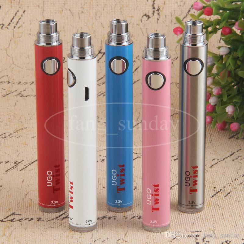Vision eVod Twist VV Variable Voltage E Cig 510 Vape Battery 650 900mAh eGo C UGO Spin with Micro USB Passthrough Charger Cables