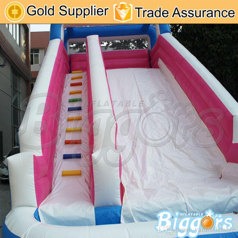 Professional Supplier PVC Tarpaulin Material Air Inflated Trampoline Jumping Slide Inflatable Slide With Pool