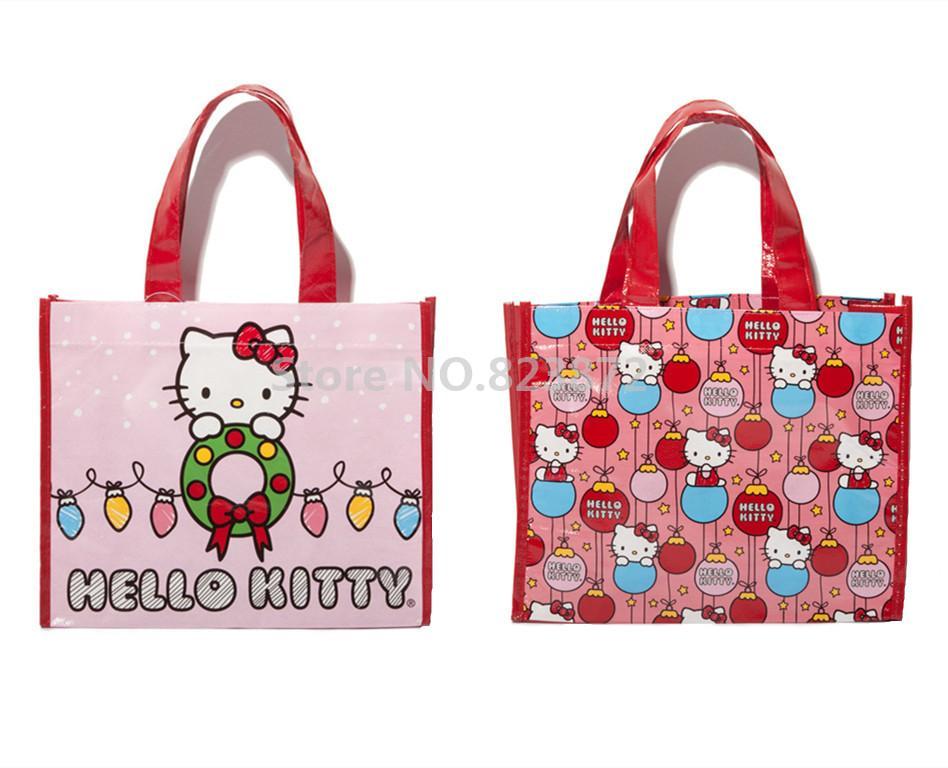 Wholesale Cartoon Hello Kitty Reusable Shopping Bag Set Of 2 Eco Friendly Tote  Supermarket Bags Handbag Kawaii Schoolbag Tutorial Gift Bag Jute Bags ... 696d1a3e0a