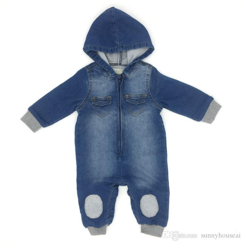 ecb736fc33b3 2019 Baby Boys Romper Denim Hooded Long Sleeve Patch Cotton Spring Autumn  Winter Infant Bodysuit Children Clothes From Sunnyhouseai