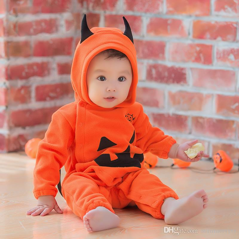 newborn toddler halloween romper infant pumpkins bat hooded rompers baby kids velvet long sleeve jumpsuits baby performance clothing a00034 newborn toddler