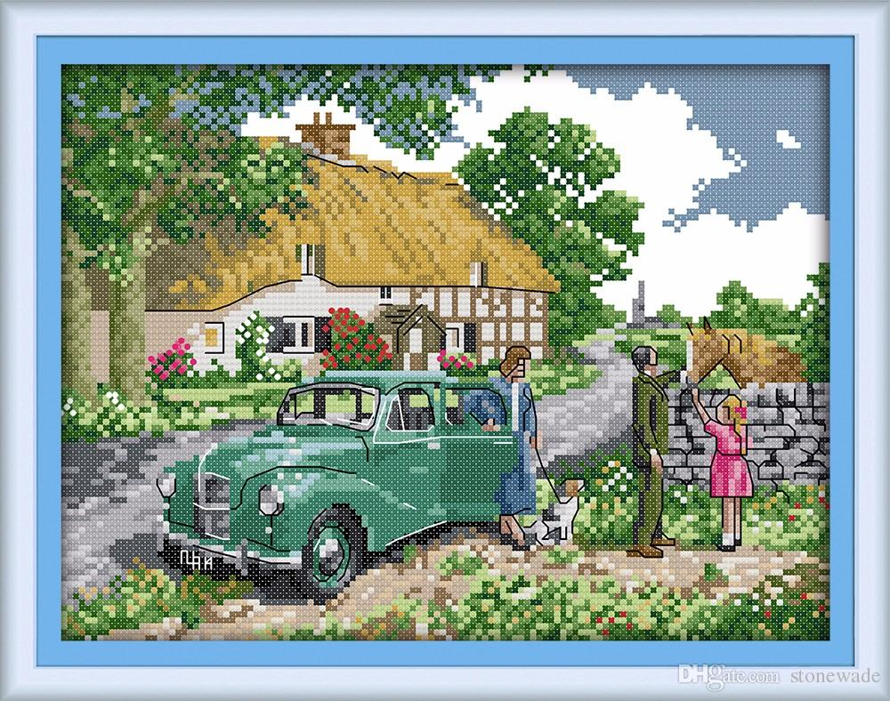 Farewell Scenery Car DIY Western Cross Stitch Needlework Embroidery Kitsdecor Painting Counted Printed On Canvas DMC 14CT 11CT