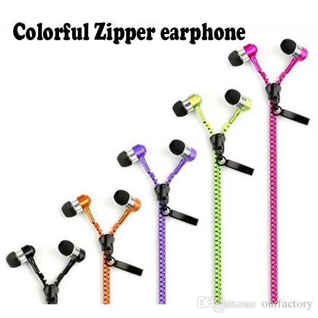 100% High Quality Stereo Bass Headset In Ear Metal Zipper Earphones Headphones with Mic 3.5mm Jack Earbuds for iPhone 5 5S MP3 300ps