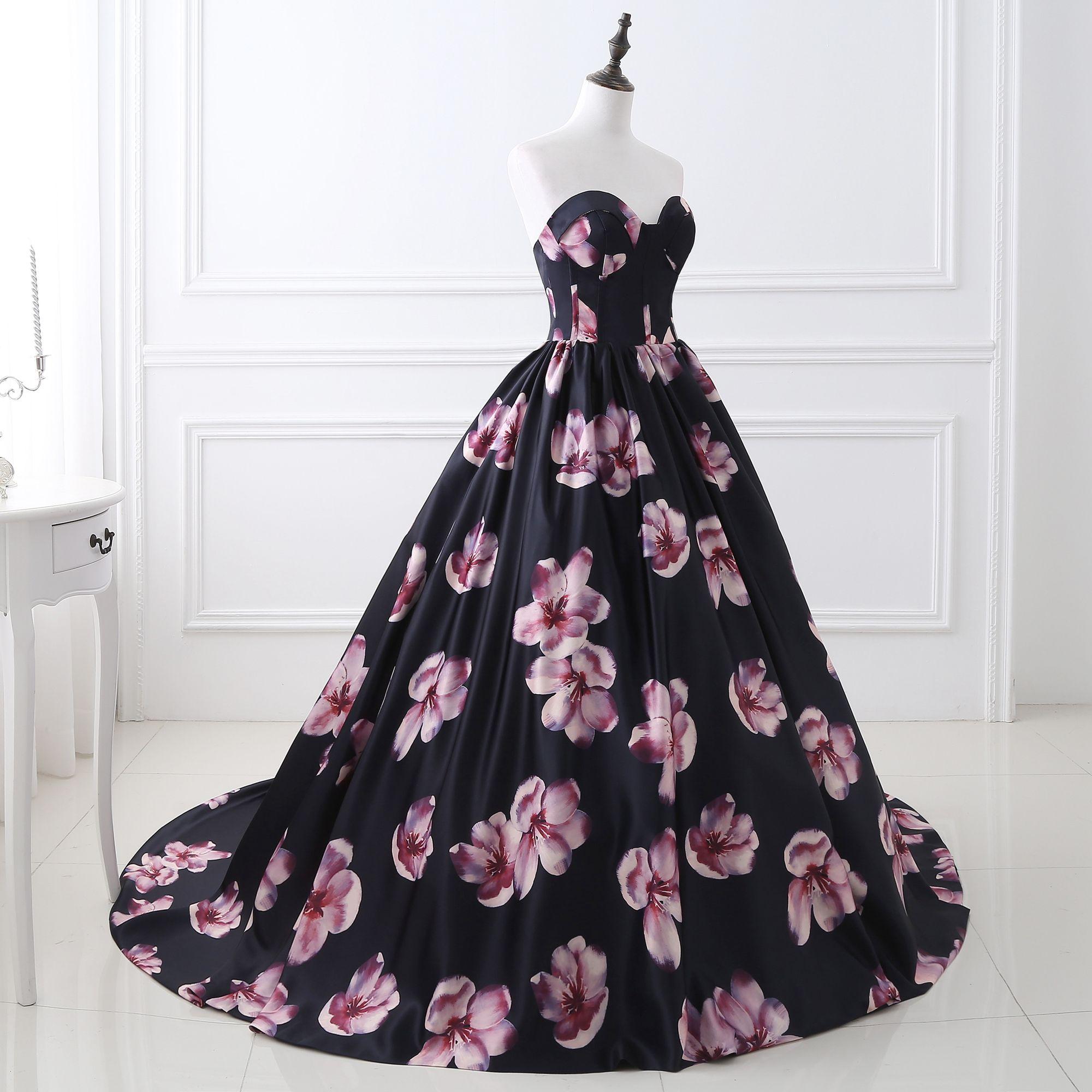 Luxury Print Evening Dresses vestido longo festa Dress Formal Arabic Evening Gowns Strapless Sweetheart Ball Gown Print Prom Dresses