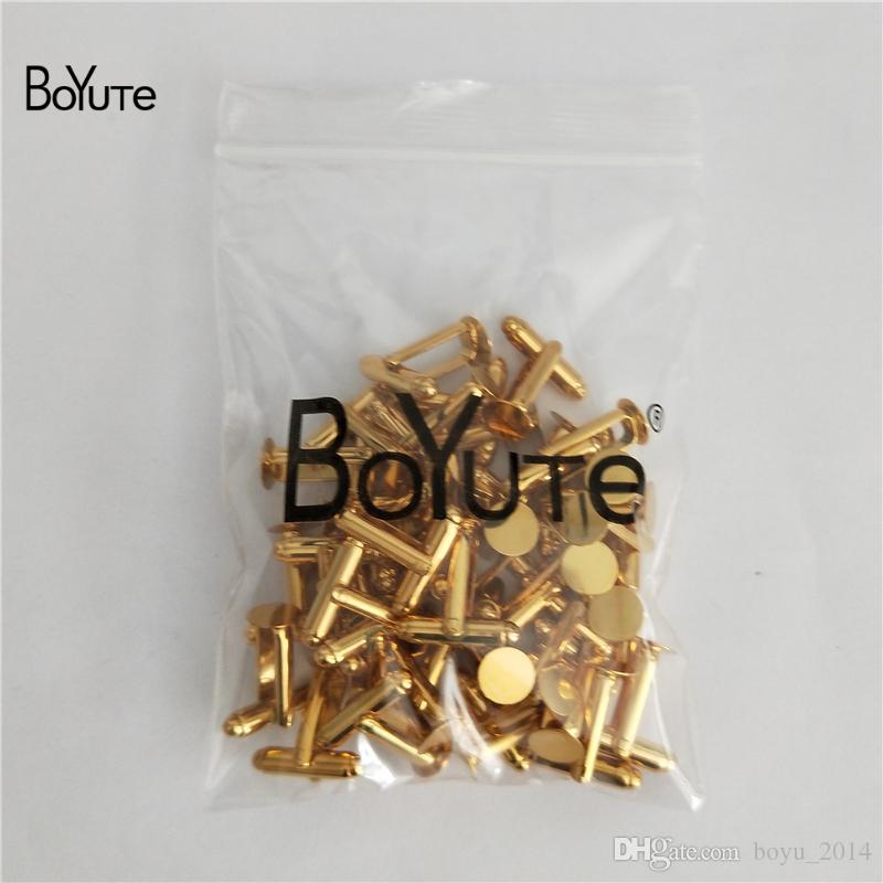 BoYuTe 6 MM 8 MM 10MM 12MM Round CabochonFlat Glue Pad Cufflinks Base Setting Diy Blank Jewelry Findings Components
