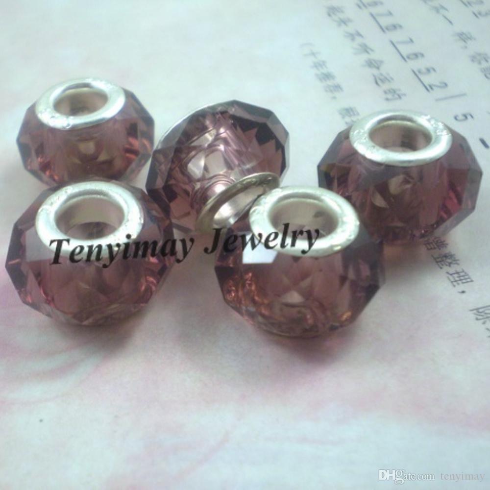 宝石類のDIYのための茶色のファセットの大きな穴ガラスビーズ卸売100ピース