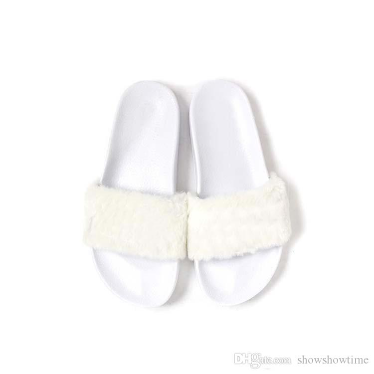 Con Dusty Bag original Zapatos RIHANNA LEADCAT FENTY WOMEN SLIPPERS Sandalias de interior con diseño de moda para niñas Sandalias Gris / Rosa / Negro / Blanco