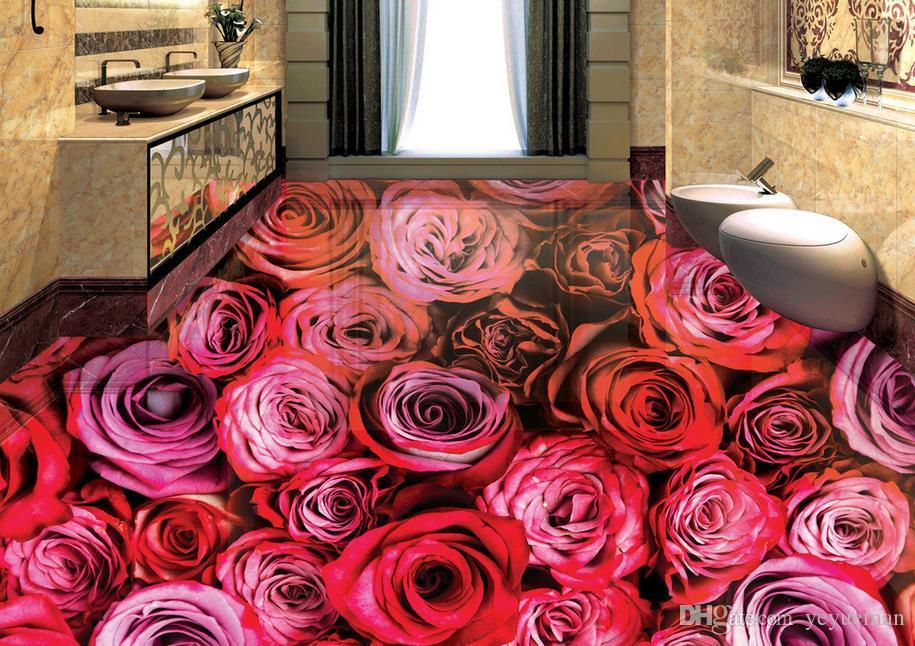 Impermeabile protezione ambientale 3d pavimenti in pvc impermeabile autoadesivo carta da parati personalizzare HD Roses pittura del pavimento
