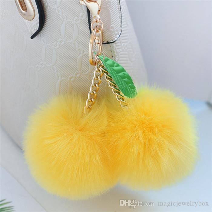 Nouveau lapin mignon Faux fourrure boule Pompon cerise Keychain Fluffy Pompon Porte-clé Pom Pom Toy Porte Charms Sac voiture Trinket