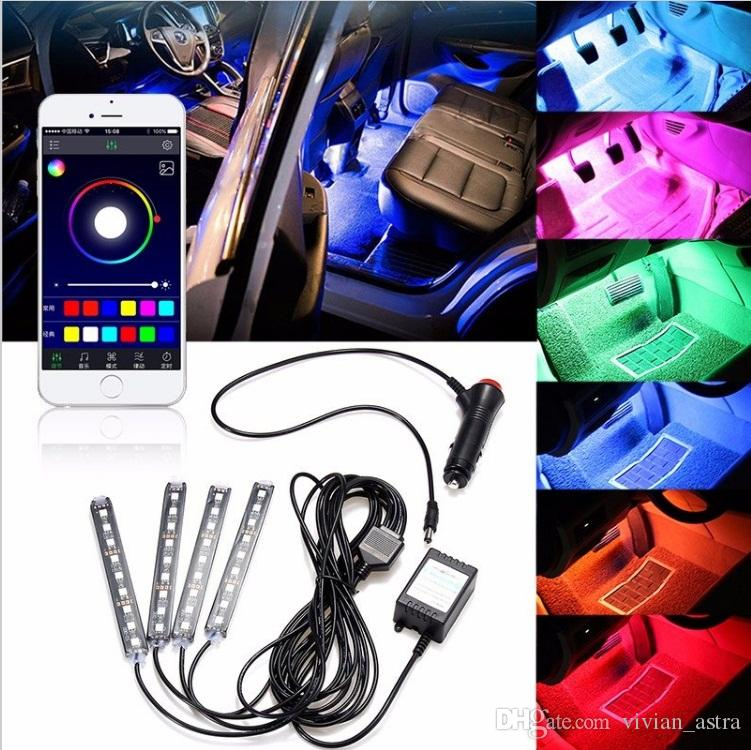 4x 9LED RGB Araba İç Dekoratif Zemin Atmosfer Lambası Şerit Işık Akıllı Akıllı Kablosuz Telefon APP Kontrolü Ses Kontrolü