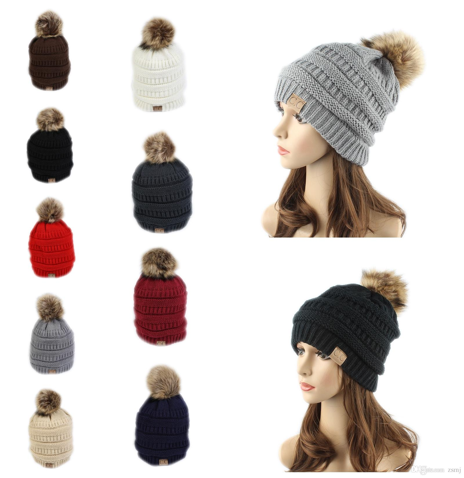 Cc Label Trendy Hats Winter Headware Knitted Fur Poms Beanie Cable Skull Caps  Beanie Outdoor Hats Beanie Kids Skull Caps From Zsmj 95635882be4e