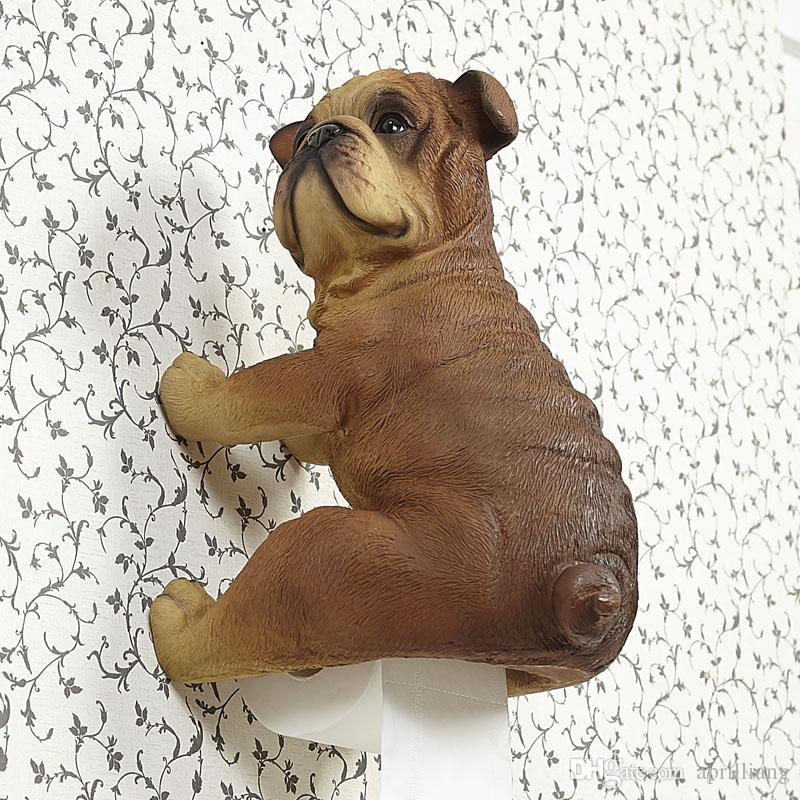 Details about Puppy Dog Bathroom Toilet Roll Paper Holder Resin Holding Case Wall Mount Hanger