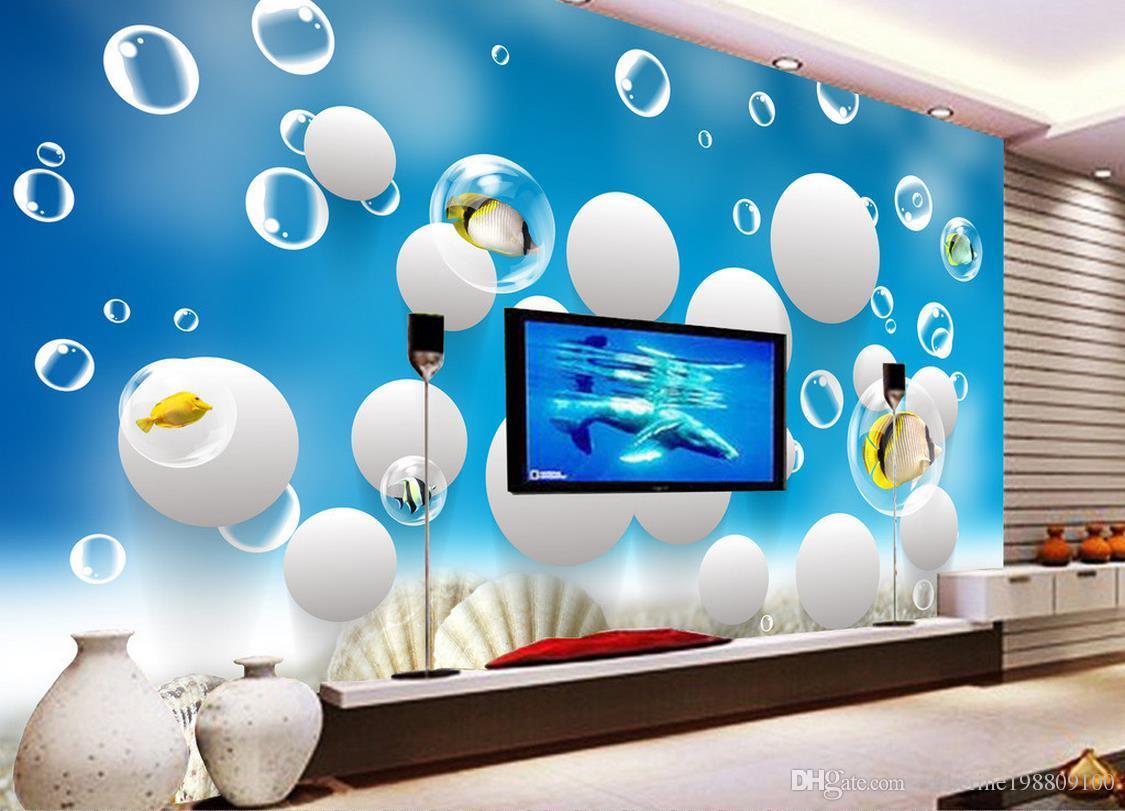 Papel pintado personalizado para paredes Decoración del hogar Sala de estar Arte natural océano World Fish 3D Stereo Wall