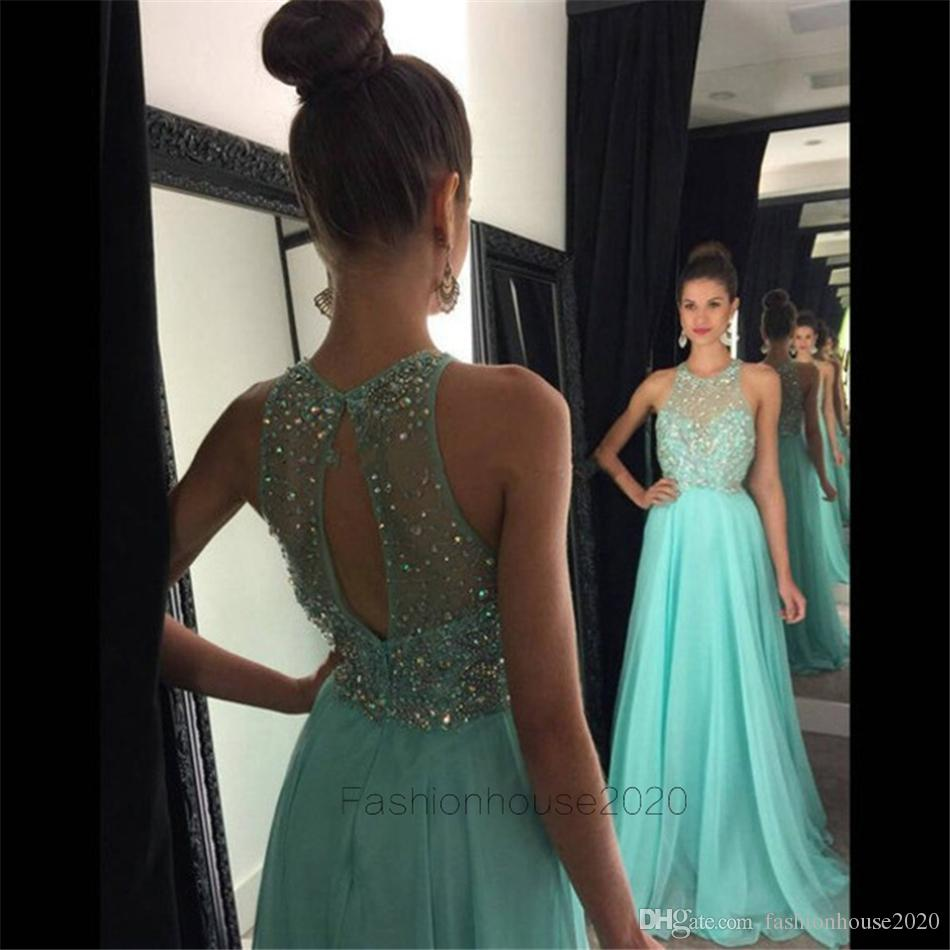 Sexy Long Blue Beaded Prom Dresses Sexy Hollow Back Halter Neck Modest Chiffon Formal Evening Gowns Party Dress Custom Designer