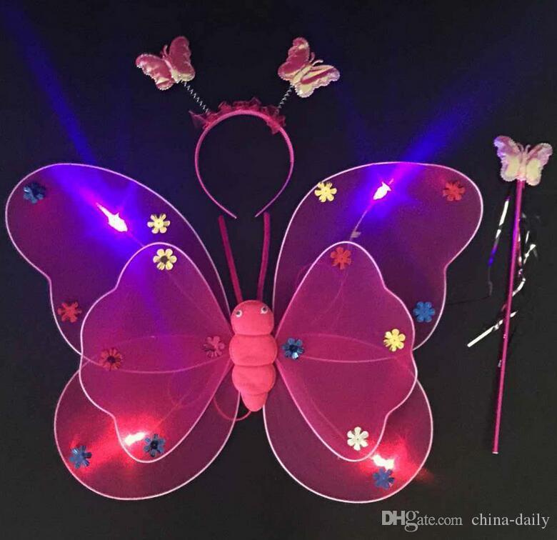 Gratis EMS LED Flash Glow Dos capas de Fairy Wings wing, diadema, varita mariposa ala con luz KTV Disco Kids Christmas Gift