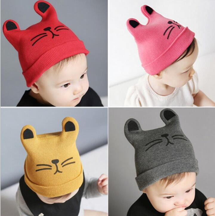 2019 Kids Cotton Cap Cat Baby Hat Print Pattern Warm Comfortable Hat Boy  Girl Fashion Lovely Autumn Winter Children S Cap From Shunbaby 0b955a66e47