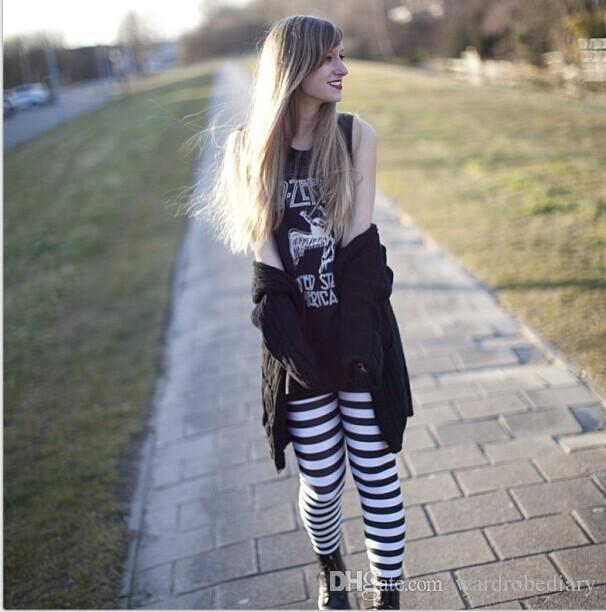 Skinny Leggings Fashion Classic black and white stripes womens Clothing Sexy Legging Patterned Girl Graffiti Leggings Tights Space pants