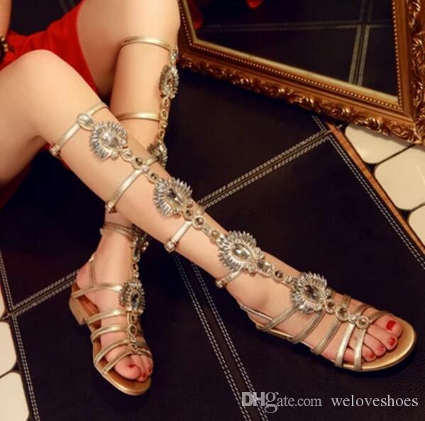 2017 mujeres de la manera rodilla alta botines de verano del talón delgado dama oro diamante lace up botines glitter rhinestone stud gladiador sandalias botas