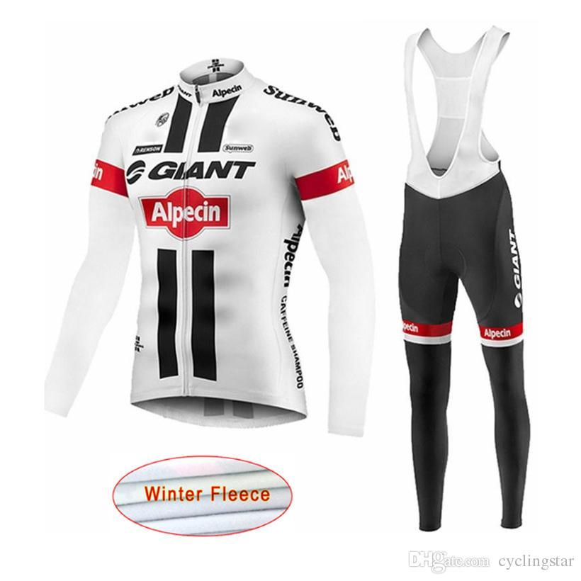 2017 giant long sleeve Pro cycling jersey Winter Thermal Fleece cycling Clothing MTB GEL Pad Bib long pants sets Bicycle Clothes C2201