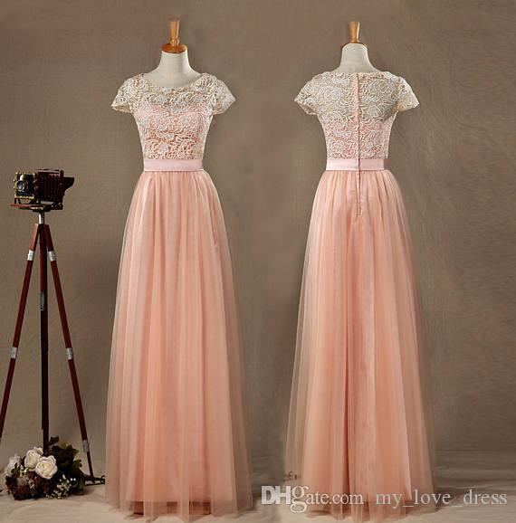 1966cb1b3a76 Hot Sale Real Pictures Blush Tulle Lace Bridesmaid Dress Round Neck Short  Sleeves Full Tulle Skirt With Ruching Floor Length Elegant Dress, ...