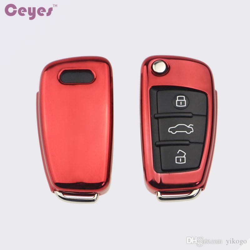 자동차 키 커버 소프트 TPU 키 케이스 아우디 A1A3 A4 A5 Q7 A6 C5 C6 자동차 홀더 쉘 원격 커버 자동차 스타일링