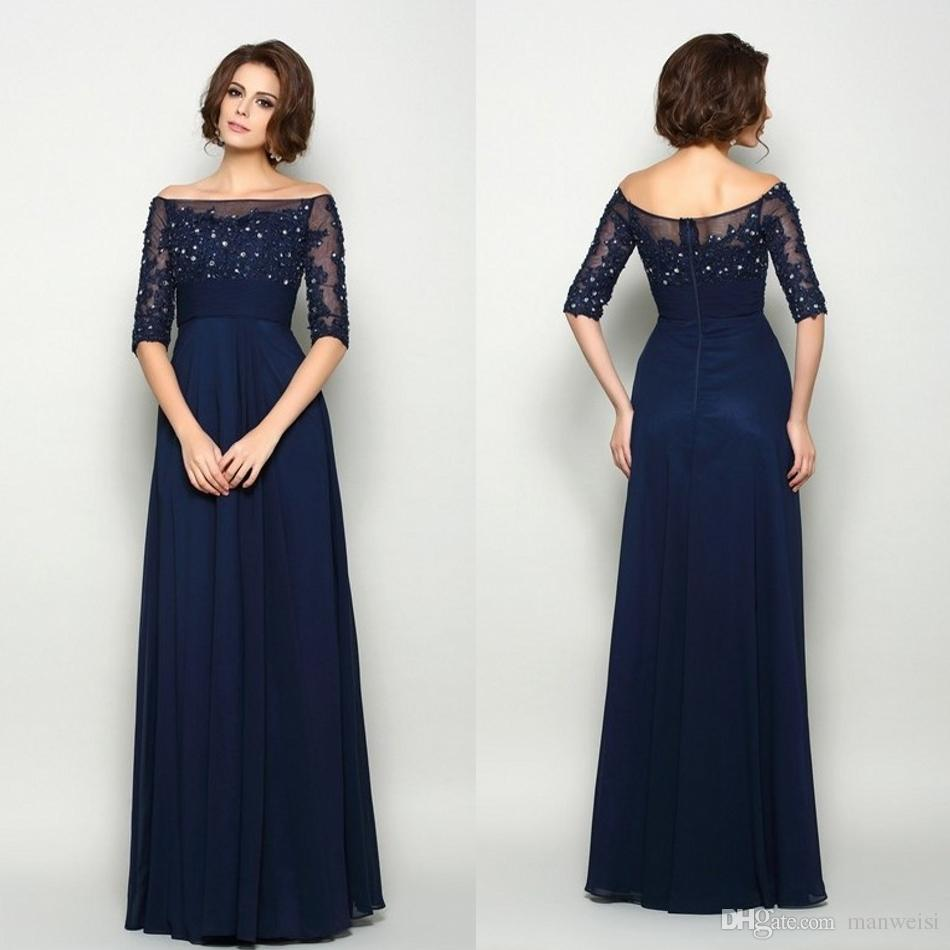 208ef8ba6d8 Elegant Navy Mother Of The Bride Dresses Off The Shoulder Beads Lace  Appliqued Plus Size Groom Mothers Wedding Guest Dress Mother The Bride  Dresses Mothers ...
