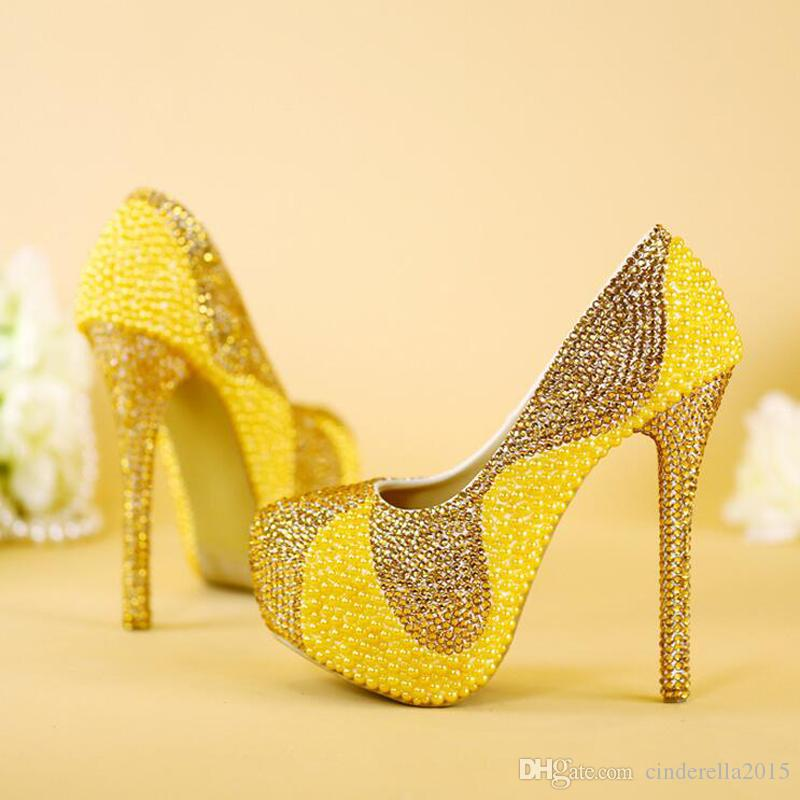 60a7be508 New Yellow Wedding Shoes with Pearl And Gold Rhinestone Handmade Sparkling Women  Pumps Bridal Dress Shoes Party Prom Heels Yellow Pearl Party Prom High ...