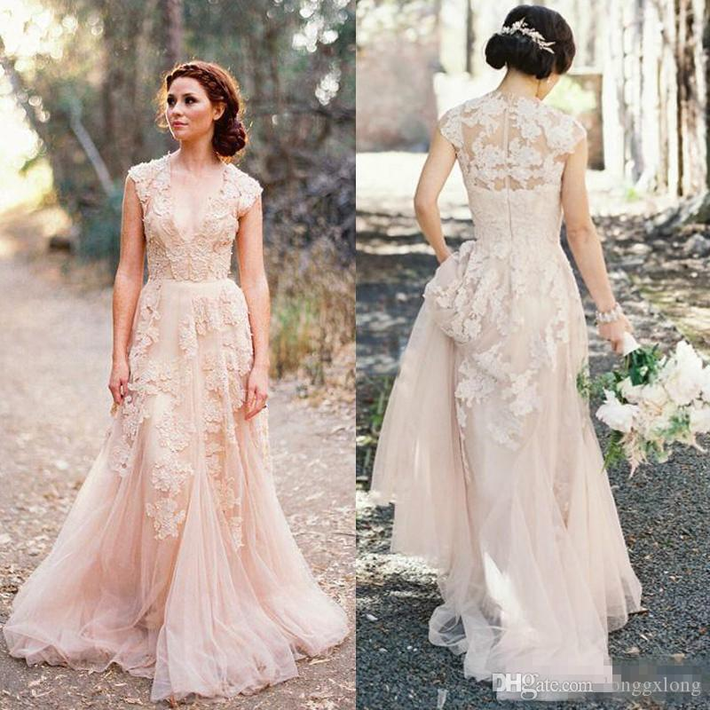 Discount Vintage Blush Tulle Wedding Dresses A Line Sheer V