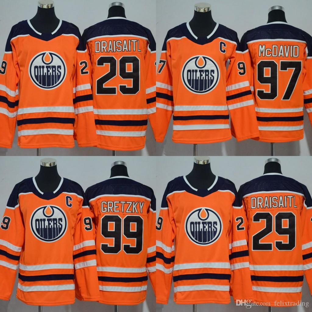 7bebb8d0e94 2019 Youth Women 2017 2018 Season  97 Connor McDavid  99 Wayne Gretzky Leon  Draisaitl Edmonton Oilers Hockey Jerseys Stitched Kids New Jersey From ...