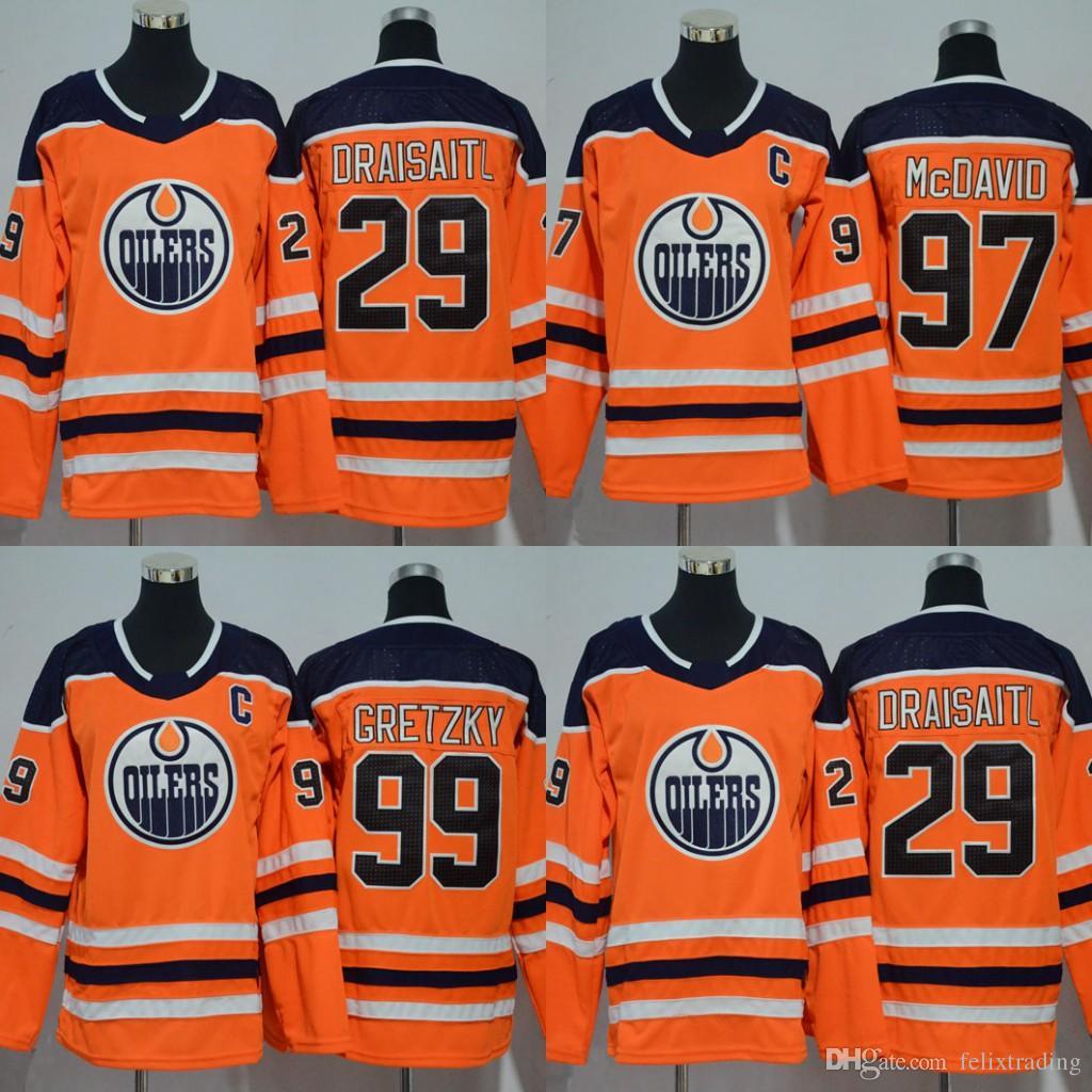 2019 Youth Women 2017 2018 Season  97 Connor McDavid  99 Wayne Gretzky Leon  Draisaitl Edmonton Oilers Hockey Jerseys Stitched Kids New Jersey From ... 1407516c9